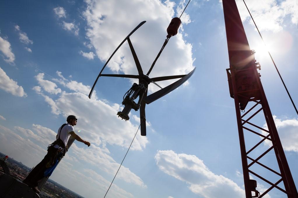 Montage der Windenergieanlage Montage
