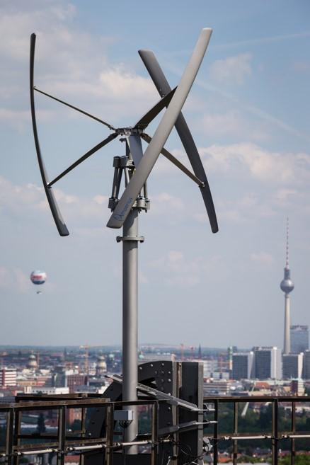 Windenergieanlage auf dem Gasometer